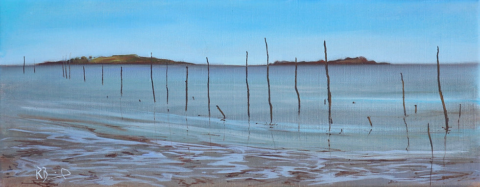 """Richard Brinley  """"Fishing stakes , Cardoness"""" 20 x 50 cm oil on can"""