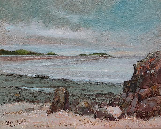"R.Brinley ""Evening Light , Kippford"" 33cm x 41cm  , oil on stretched linen"
