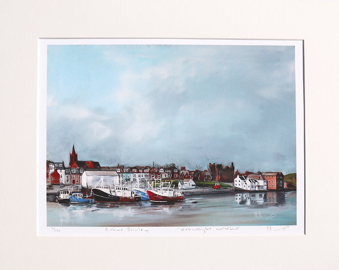 """""""Kirkcudbright Waterfront """" mounted limited edition print"""