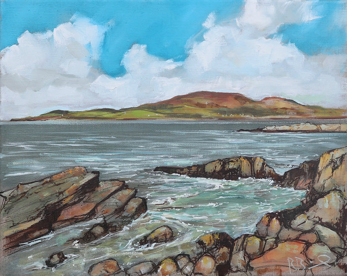 """R. Brinley  """"Tide's in Carrick """" 33 x 41 cm oil on canvas"""