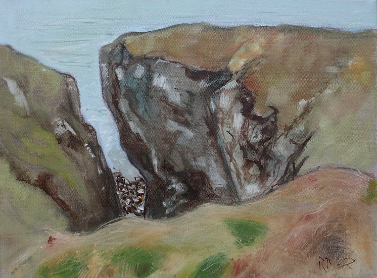 "R. Brinley  ""Cliffs near Portpatrick "" 30 x 40 cm oil on canvas"