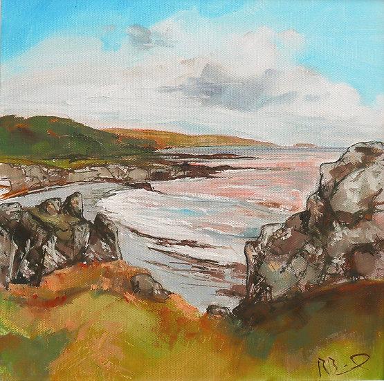 "R. Brinley  ""Isle Mouth Bay , Carrick"" 30 x 30cm oil on canvas"