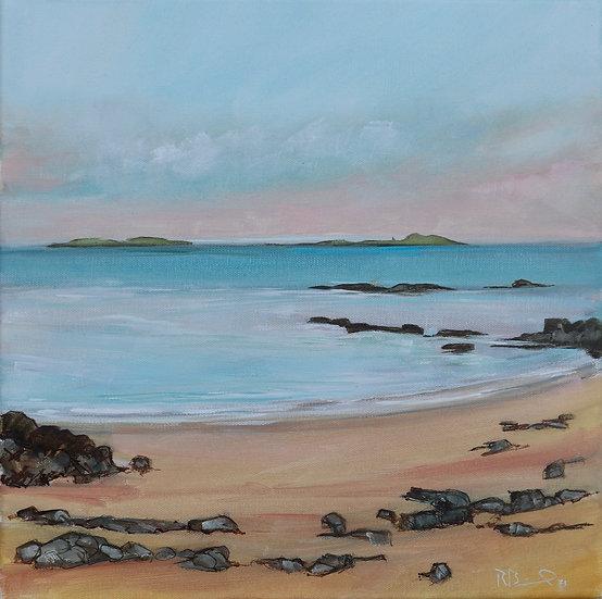 "R. Brinley  ""Fleet Isles "" 40 x 40cm oil on canvas"