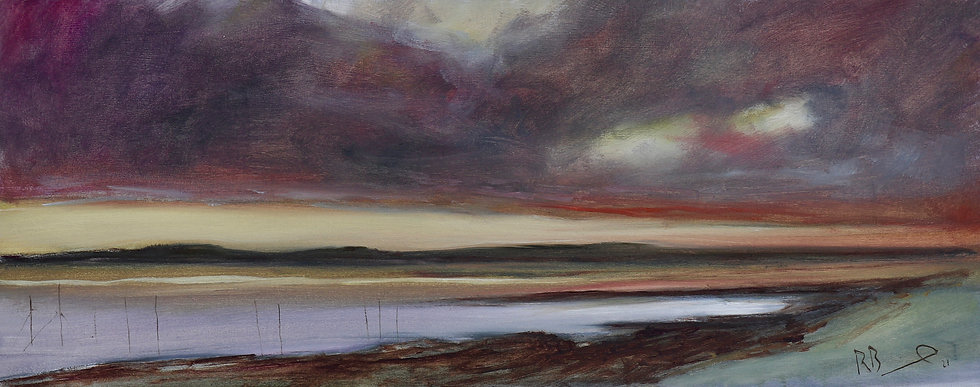 "Richard Brinley  ""Carsluith Sunset"" 20 x 50 cm oil on board"