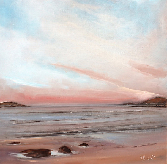 """R. Brinley """"Evening pinks , Brighouse Bay"""" 50 x 50cm  oil on canvas"""