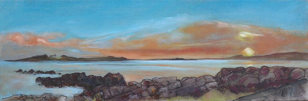 "R. Brinley ""Sunsetting , Knockbrex"" 30cm x 90cm, oil on canvas"
