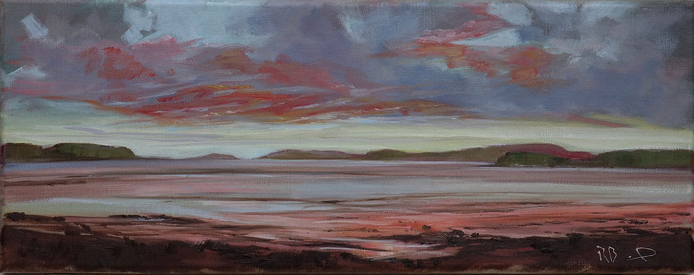 """R.Brinley """"Sunsetting at Mutehill"""" 20 x 50 cm oil on canvas"""