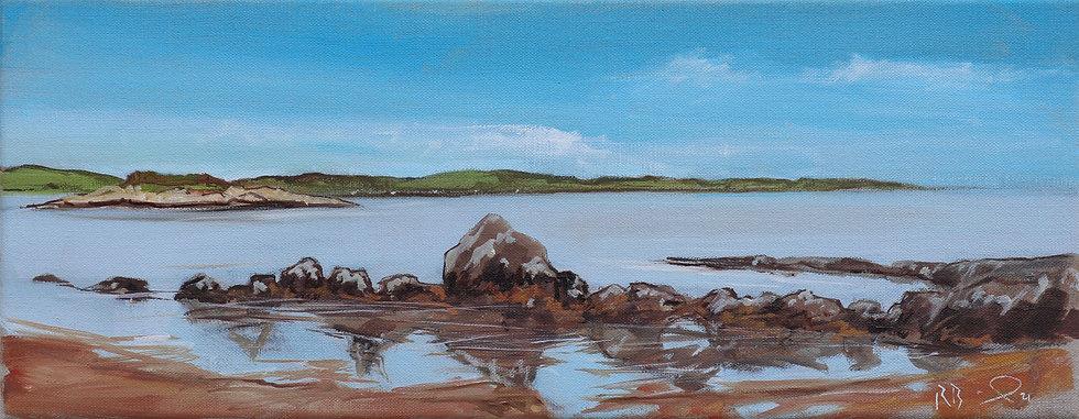 "Richard Brinley  ""Laundry Bay ,Cardoness"" 20 x 50 cm oil on can"