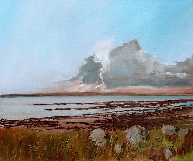 """R.Brinley  """"Clouds above Wigtownshire"""" 46 x 55 cm oil on canvas"""