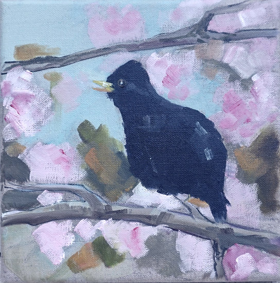 Richard Brinley Blackbird and Cherry Blossom mini print