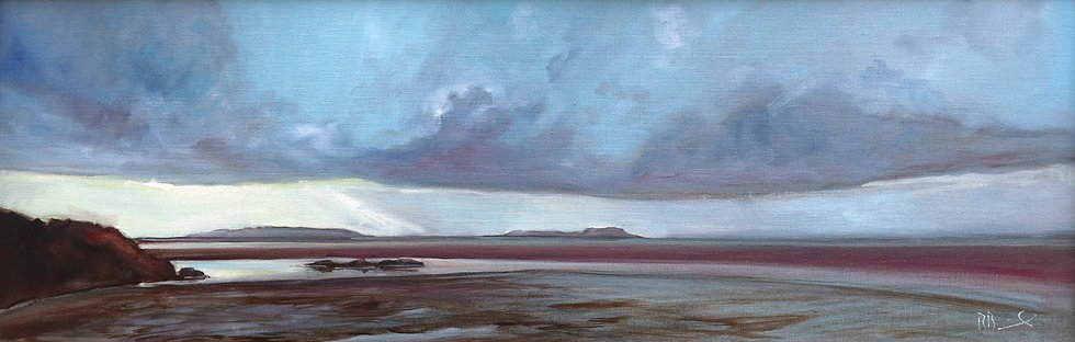 "R. Brinley ""Light burst , Cardoness"" 30cm x 90cm, oil on canvas"