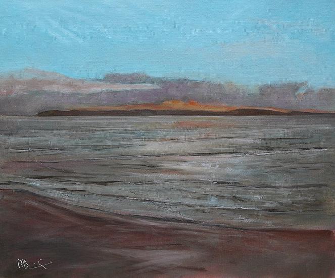 "R. Brinley  ""Fading Light , Galloway "" 50 x 60cm oil on canvas"