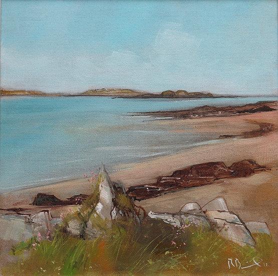 """R. Brinley  """"June , Mossyard """" 30 x 30cm oil on canvas"""