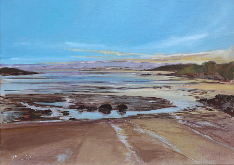 "Richard Brinley ""Dusk, Brighouse Bay"" 50 x 70 cm oil on"