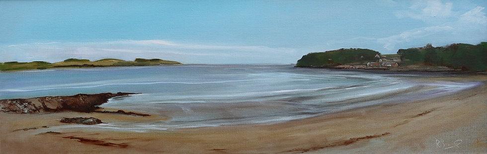 "Richard Brinley "" Dhoon Bay , Kirkcudbright "" 30cm x 90cm, oil on"