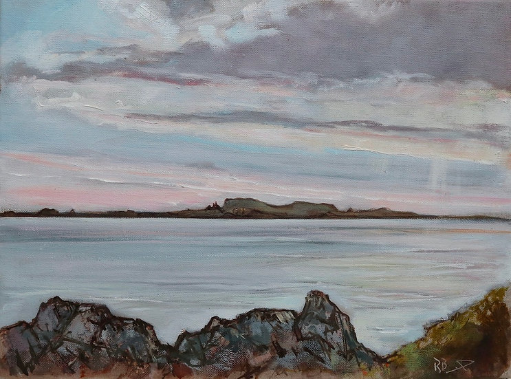 "Richard Brinley ""Fleet Isles ,Evening "" 30cm x 40cm, oil on stretched lin"