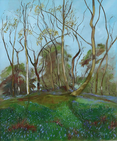 "R.Brinley ""Bluebells , Castramont Wood "" 50 x 60cm oil on canvas"