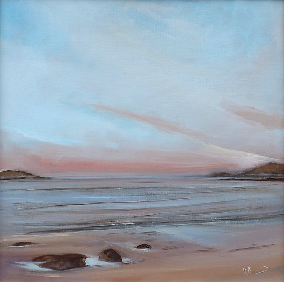 "Richard Brinley ""Evening pinks , Brighouse Bay"" 50 x 50 cm oil on"