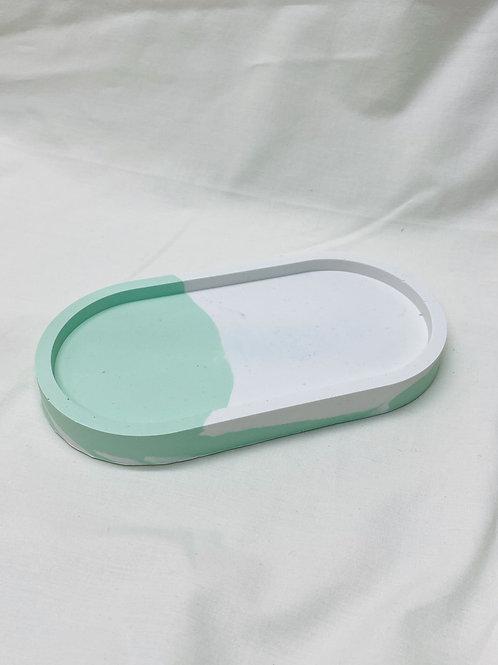 """Tablett """"oval"""", mint-weiß"""