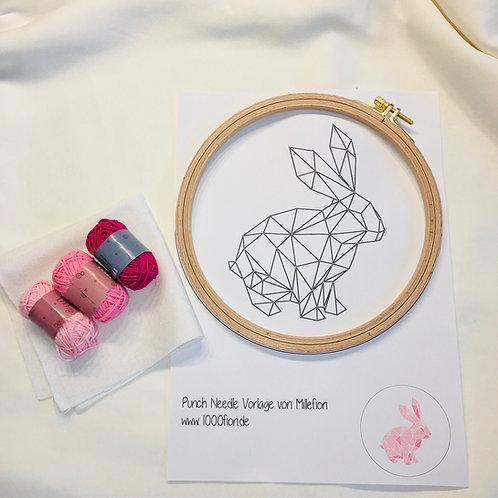Punch Needle Set Geo Hase, rosa