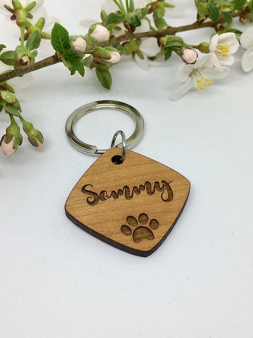 Hundemarke viereckig aus Holz mit Name und Anschrift personalisierbar