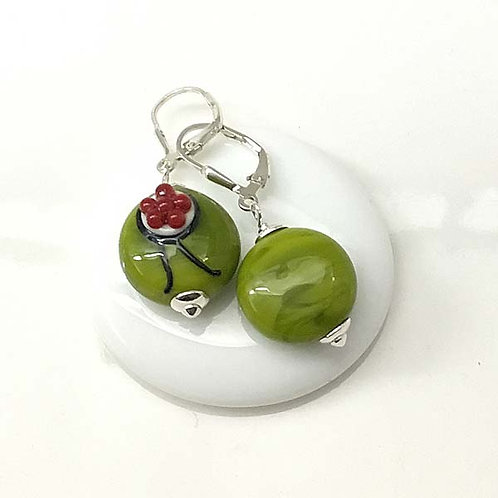 Ohrringe Bollenhut aus Glas, grün