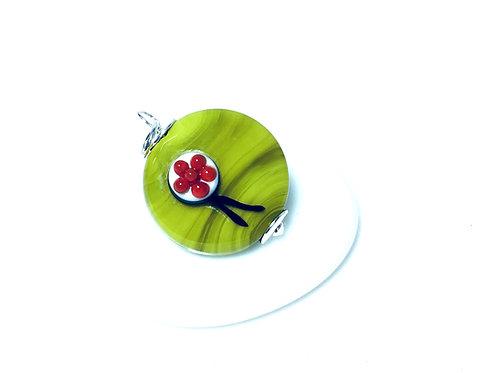 Halskette mit Bollenhut aus Glas, grün