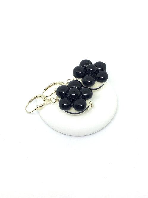 Ohrringe Bollenhut aus Glas, schwarz