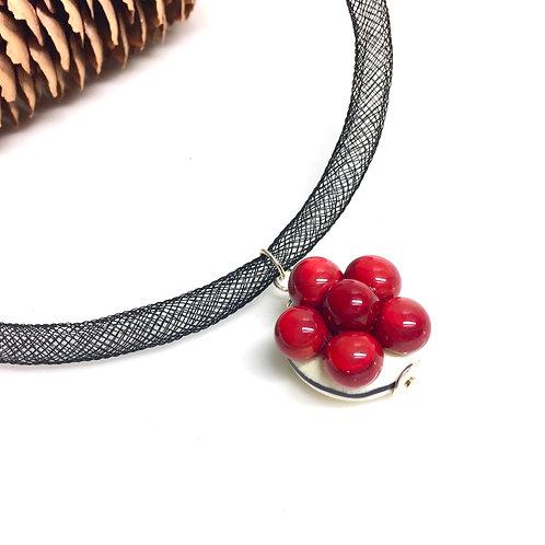 Halskette mit Bollenhut aus Glas, rot
