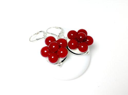 Ohrringe Bollenhut aus Glas, rot