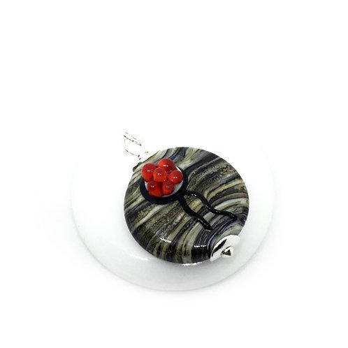 Halskette mit Bollenhut aus Glas, Hornoptik