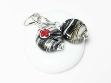 Ohrringe Bollenhut aus Glas, grau