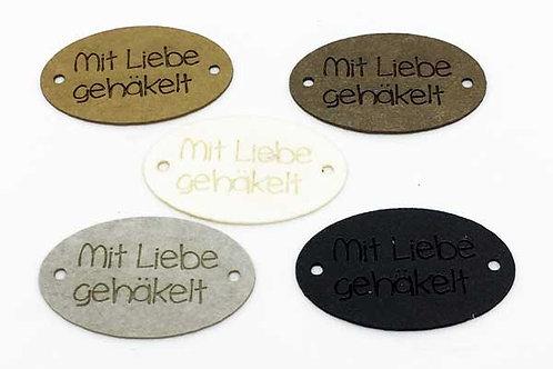 """10 St. Label oval """"mit 🖤 gehäkelt"""", 30 x 19 mm"""