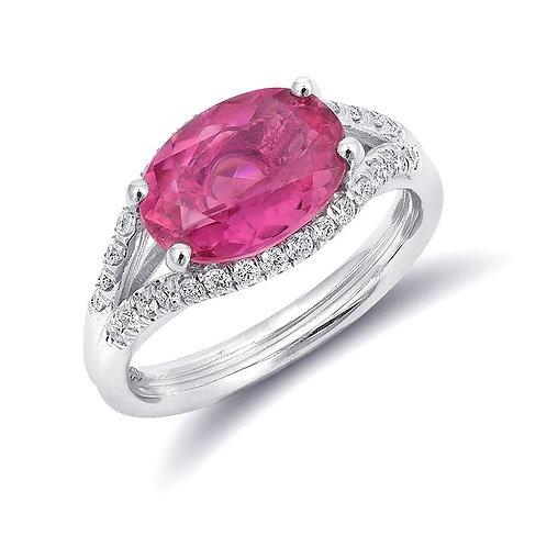 14k White Gold 2.61ct TGW Natural Pink Tourmaline and White Diamond Ring