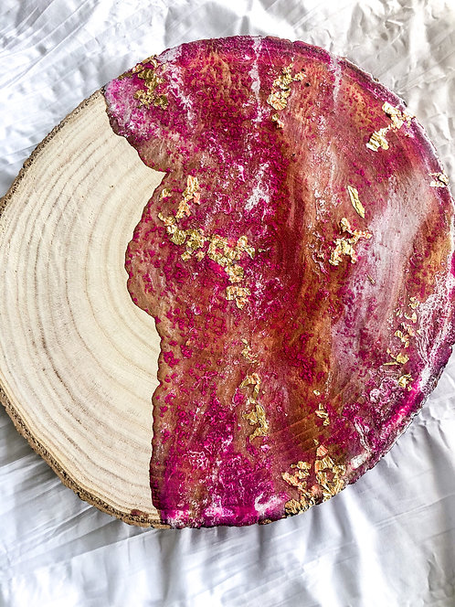 Round Pink And Gold Resin Wood Board