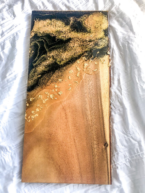 Rectangular Live Edge Black,Gold, And Clear Resin Board