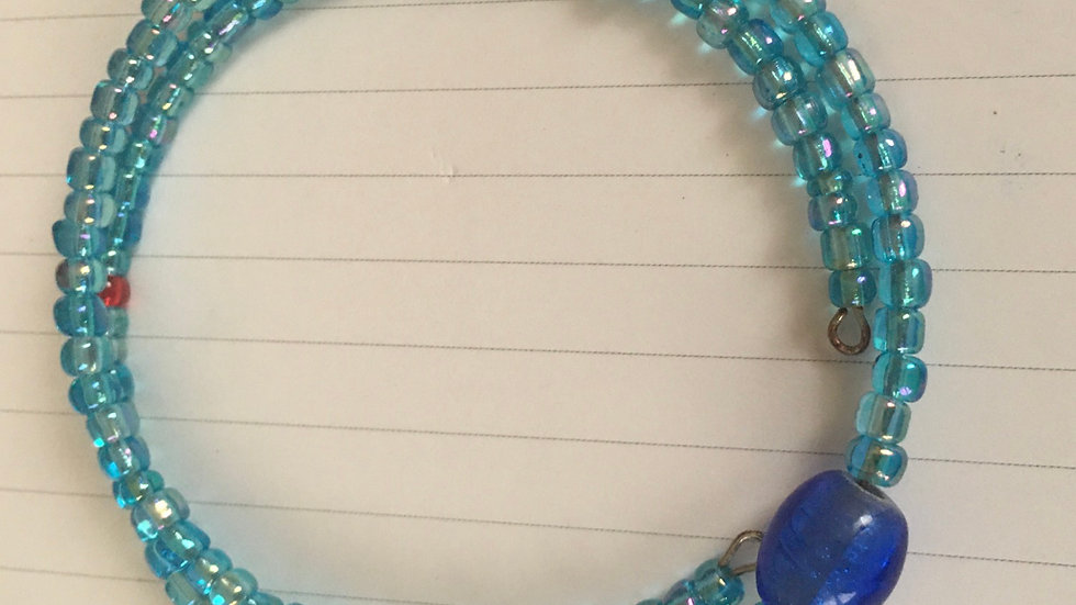 Blue Sodalite & blue glass bracelet