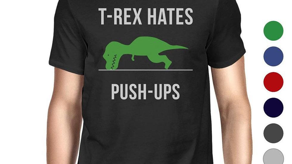 T-Rex Push Ups Mens Funny Workout Shirts Lightweight Cotton T-Shirt