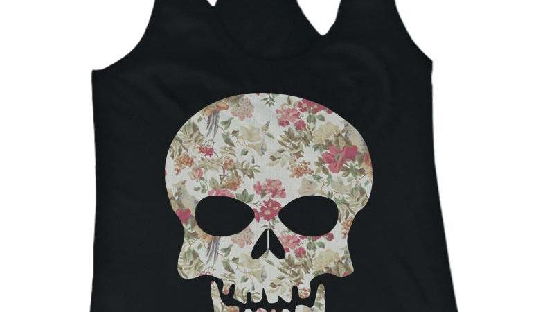 Floral Skull Women's Tank Top Flower Pattern Racer Back Tank for Halloween