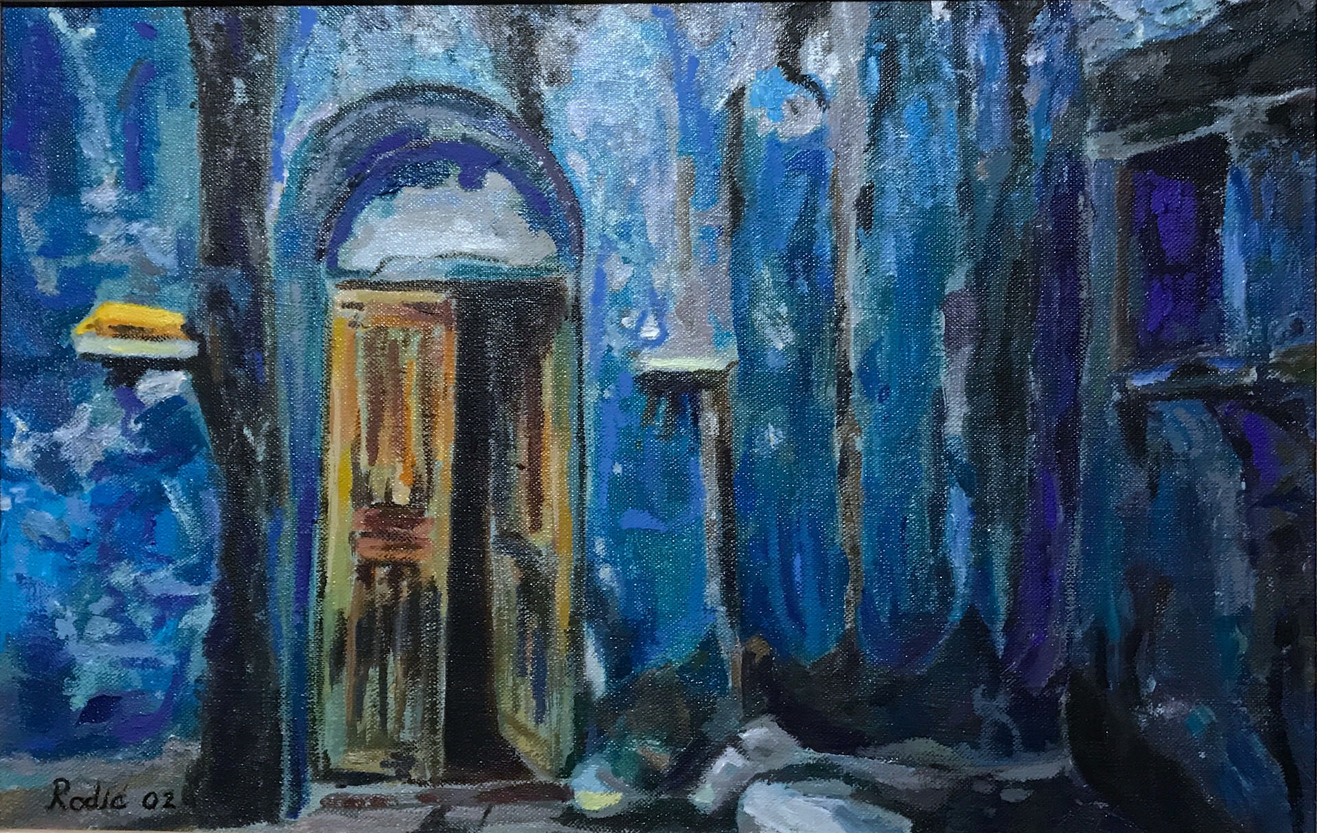 Blue House with an Old Door