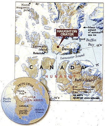 Locaton Map of Haughton Crater on Devon Island (Adapted from a National Geographic map)