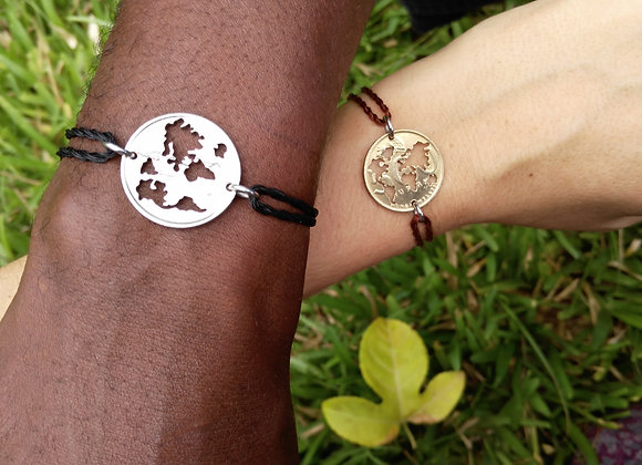 World Map bracelets - set of two