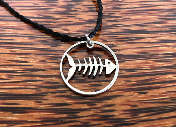Fish Bone Cut Coin Necklace - Sea Collection