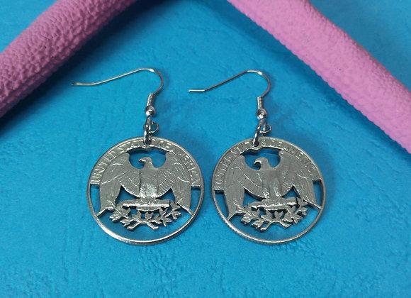 USA old State Quarter Earrings- Eagle