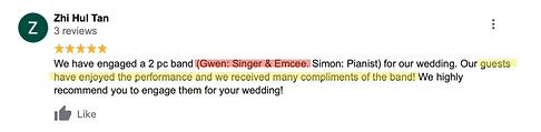 Gwen Cold Cut Duo Wedding SInger Review.