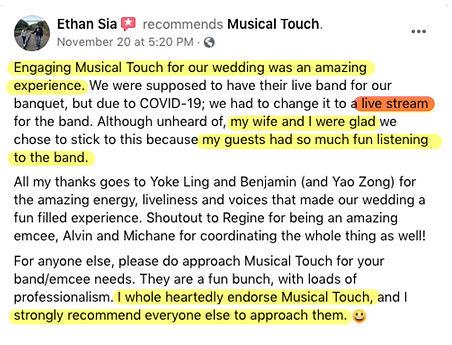 Virtual Wedding Live Band testimonial.jp