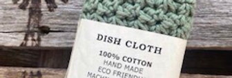 Hand crochet dish or face cloth  - sage green