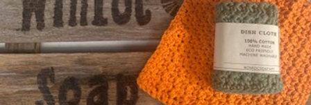 Hand crochet dish or face cloth  - orange