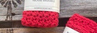 Hand crochet dish or face cloth  - Red