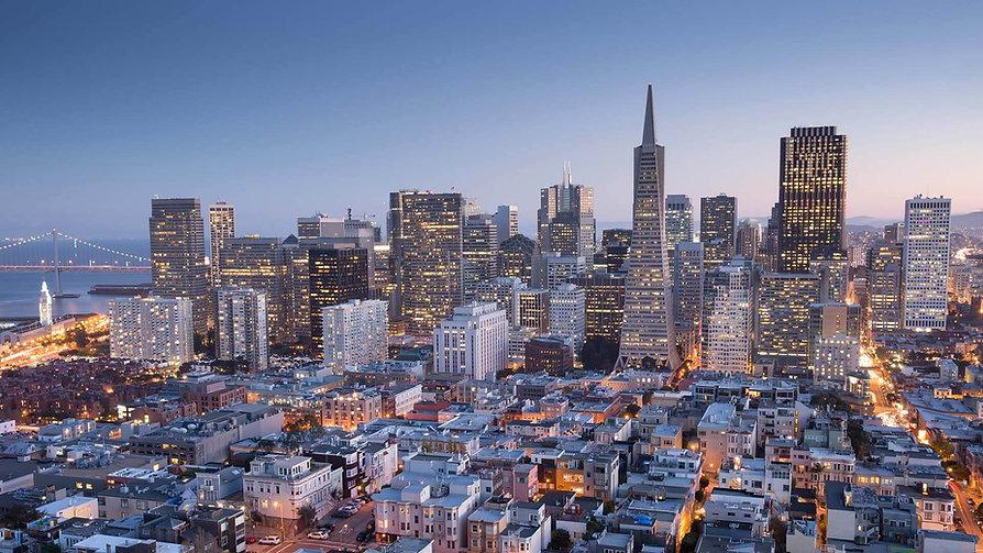 San-Francisco-Downtown-aerial-view-Dusk.